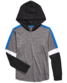 Big Boys Kaden Pieced Colorblocked Hooded T-Shirt