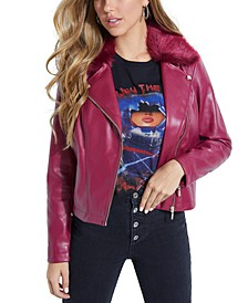 Colett Faux-Fur-Trim Moto Jacket