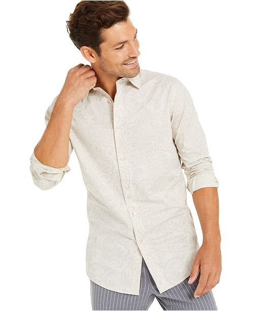 Tasso Elba Men's Pillo Melangé Paisley Shirt, Created for Macy's