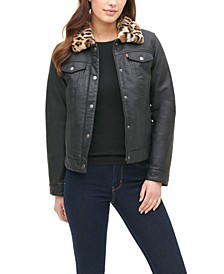 Faux-Leather Trucker Jacket with Leopard Faux-Fur Lining & Collar