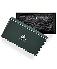 Zip Around Croc Embossed Boxed Leather Wallet