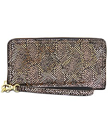 Logan Leather Zip Around Clutch