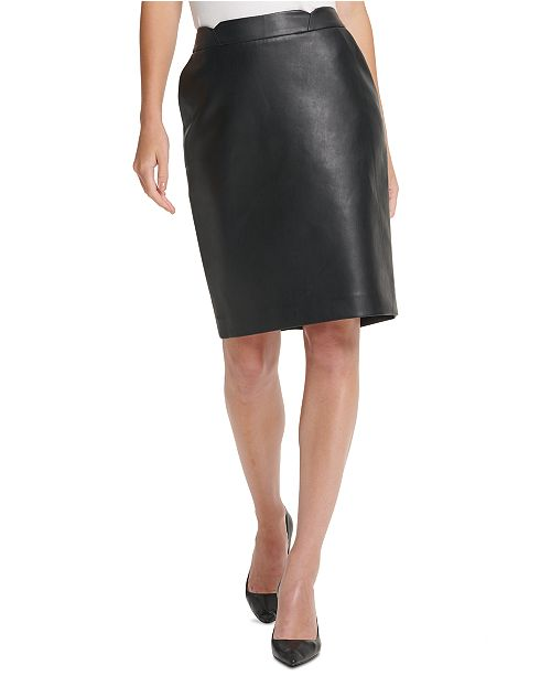 DKNY Petite Faux-Leather Pencil Skirt