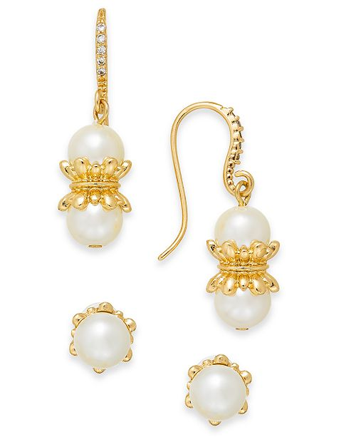 Charter Club Gold-Tone 2-Pc. Set Imitation Pearl Drop & Stud Earrings, Created For Macy's