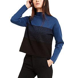 Anne Klein Mock-Neck Jacquard Sweater