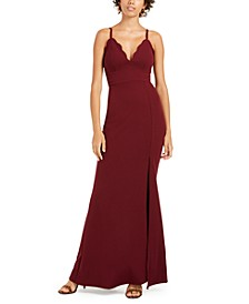 Juniors' Scalloped Slit Gown