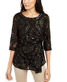 Petite Velvet-Burnout Side-Tie Top, Created For Macy's