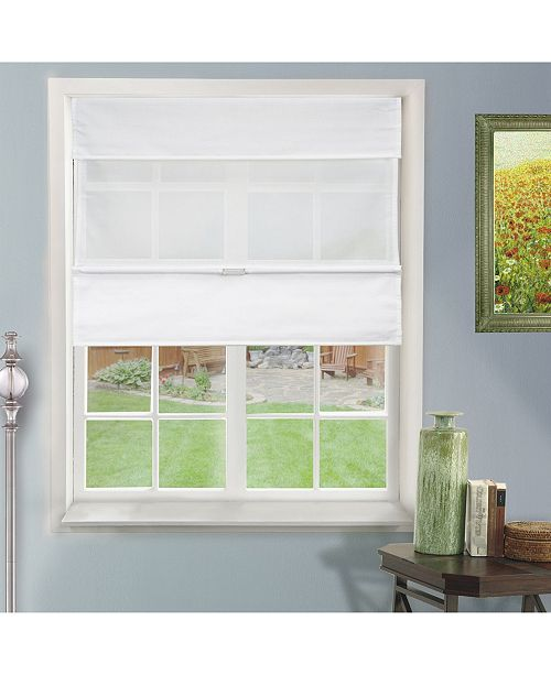 "Chicology Cordless Magnetic Roman Shades, Privacy Fabric Window Blind, 48"" W x 64"" H"