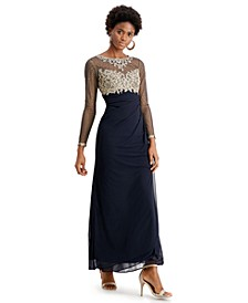 Embellished Ruched Gown, Regular & Petite Sizes