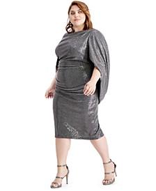 Plus Size Sequined Drape-Sleeve Sheath Dress