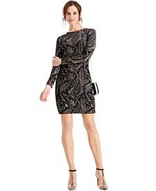 Velvet Glitter-Print Dress
