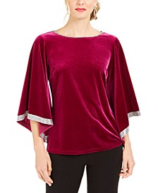 Rhinestone-Trim Velvet Top