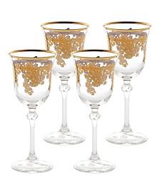 Embellished 24K Gold Crystal White Wine Goblets - Set of 4