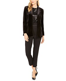 Velvet Blazer, Sequin Top & High-Waist Tuxedo Pants