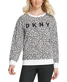 Leopard-Print Logo Sweatshirt