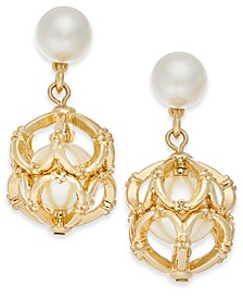 Gold-Tone Imitation Pearl Cage Drop Earrings, Created For Macy's