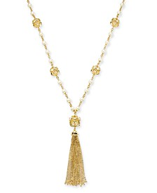 "Gold-Tone Imitation Pearl 29-1/2"" Long Tassel Necklace, Created For Macy's"