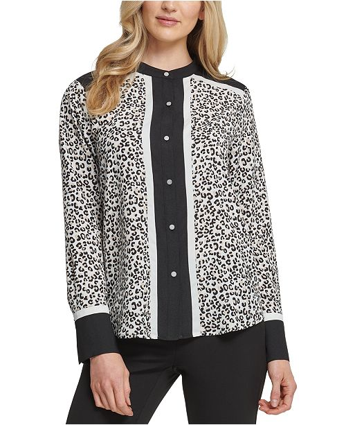 DKNY Colorblocked Animal Print Blouse
