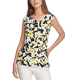 Sleeveless Printed Pleated Top