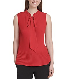 Sleeveless Pleated Tie-Neck Top