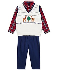 Baby Boys 3-Pc. Holiday Sweater Vest, Plaid Shirt & Pants Set