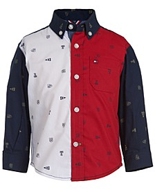 Baby Boys Cotton Colorblocked Printed Shirt