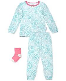 Baby Girls 3-Pc. Heart-Print Pajamas & Socks Set, Created For Macy's