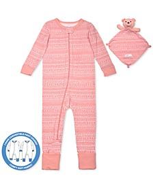 Baby Girls 2-Pc. Printed Pajama & Bear Blankie Buddy Set, Created For Macy's