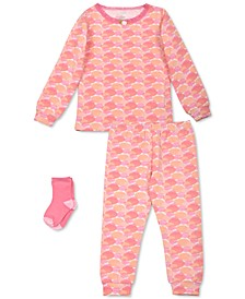 Toddler Girls 3-Pc. Dot-Print Pajamas & Socks Set, Created For Macy's
