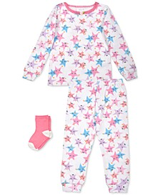 Toddler Girls 3-Pc. Star-Print Pajamas & Socks Set, Created For Macy's
