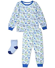 Baby Boys 3-Pc. Dinosaur Pajamas & Socks Set, Created For Macy's