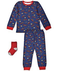Baby Boys 3-Pc. Firetruck Pajamas & Socks Set, Created For Macy's