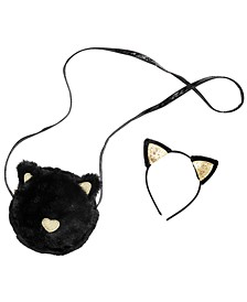 Little & Big Girls 2-Pc. Cat Headband & Faux-Fur Bag Set
