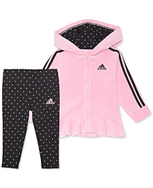 Little Girls 2-Pc. Velour Hoodie & Dot-Print Leggings Set