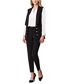 8-Button Long Shawl-Collar Vest & Side-Seam Ankle Pants