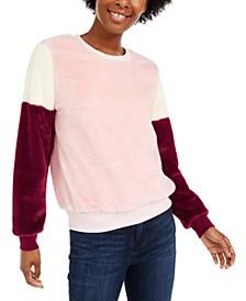 Juniors' Colorblocked Faux Fur Pullover