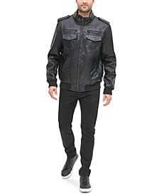 Men's Sherpa Lined Faux Leather Aviator Bomber