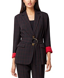 Belted Windowpane Blazer