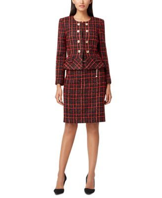 Bouclé Plaid Peplum Jacket