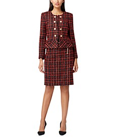 Peplum Boucle Jacket & Chain-Belt Pencil Skirt