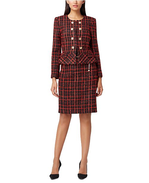 Tahari ASL Peplum Boucle Jacket & Chain-Belt Pencil Skirt