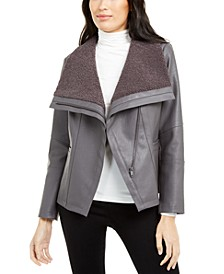 Faux-Leather Fleece-Trim Jacket, Created For Macy's