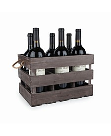 Rustic Farmhouse Wooden 6 Bottle Crate