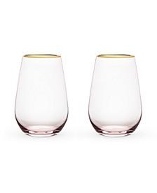 Rose Crystal Stemless Wine Glass Set of 2