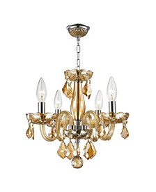 Clarion 4-Light Chrome Finish and Amber Crystal Chandelier