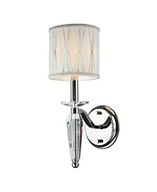 Gatsby 1-Light Chrome Finish and Clear Crystal Wall Sconce Light with Fabric Shade