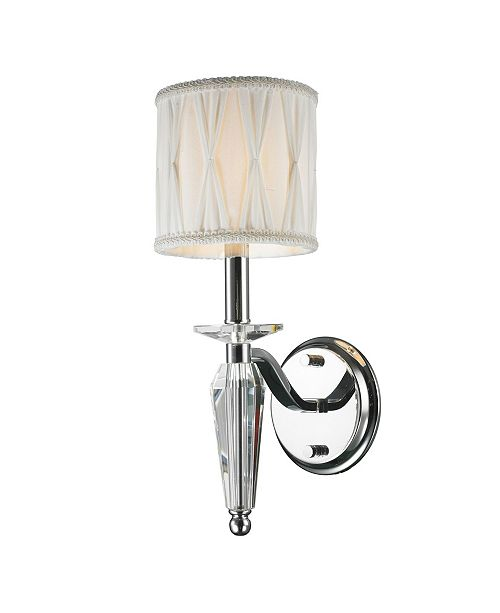 Worldwide Lighting Gatsby 1-Light Chrome Finish and Clear Crystal Wall Sconce Light with Fabric Shade