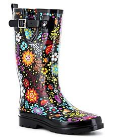 Women's Regular Printed Tall Rubber Rain Boots