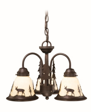 Vaxcel Bryce 3 Light Rustic Deer Amber Glass Chandelier