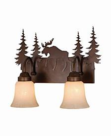 Yellowstone 2 Light Rustic Moose Vanity Light